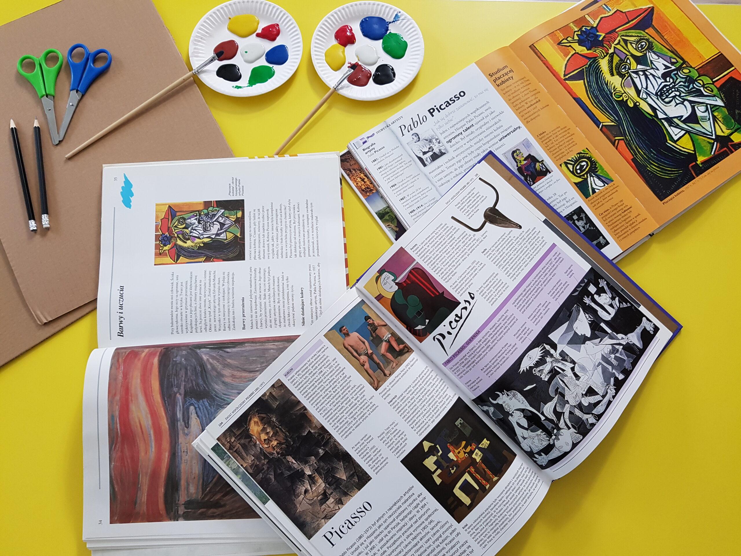 Materiały przygotowane dla dzieci do tworzenia kubistycznych portretów.