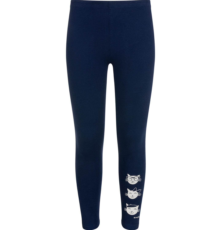 Granatowe legginsy z nadrukiem serduszek na kolanach dla dziewczynki.