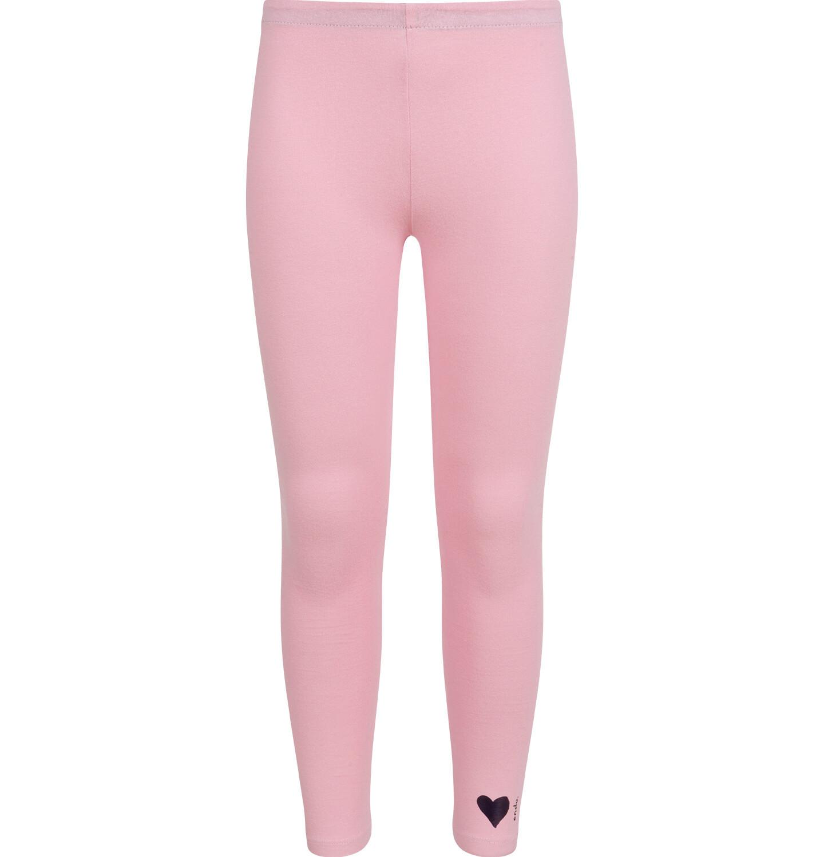Różowe legginsy dla dziewczynki z małym nadrukiem na kostce.