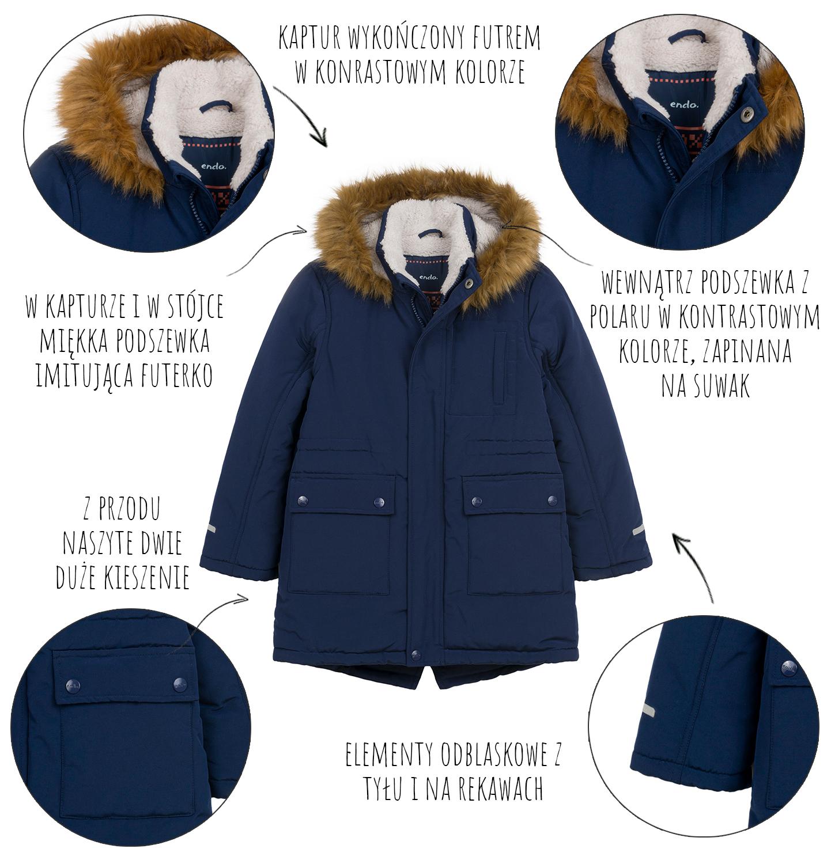 Infografika dotycząca cech kurtki zimowej dla chłopca Endo.