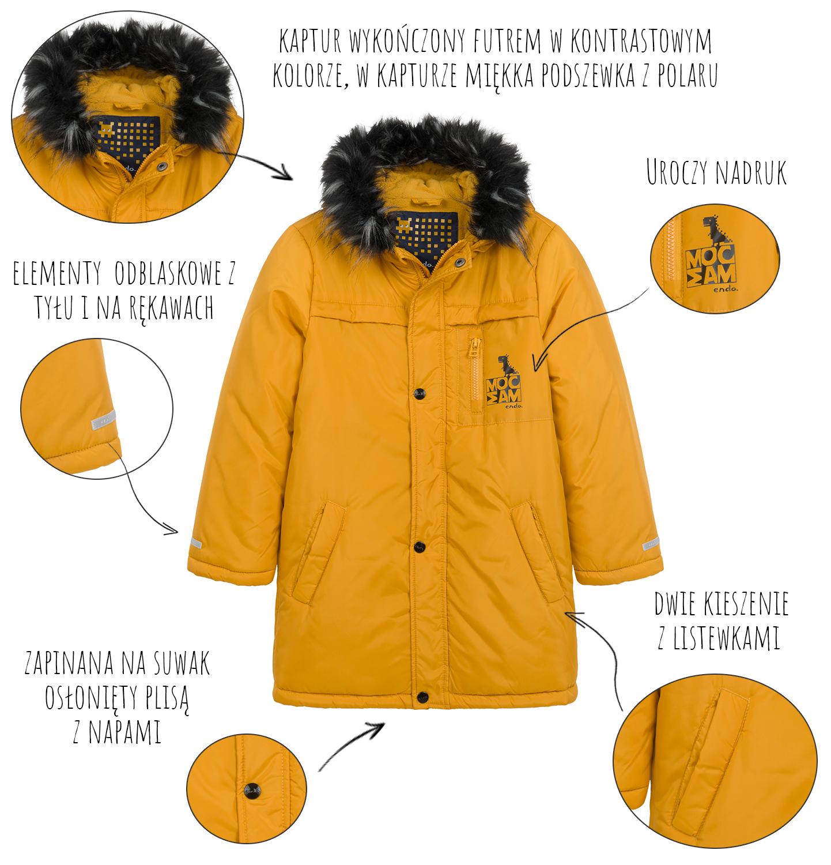 Infografika przedstawiająca funkcjonalności zimowej kurtki chłopięcej Endo.