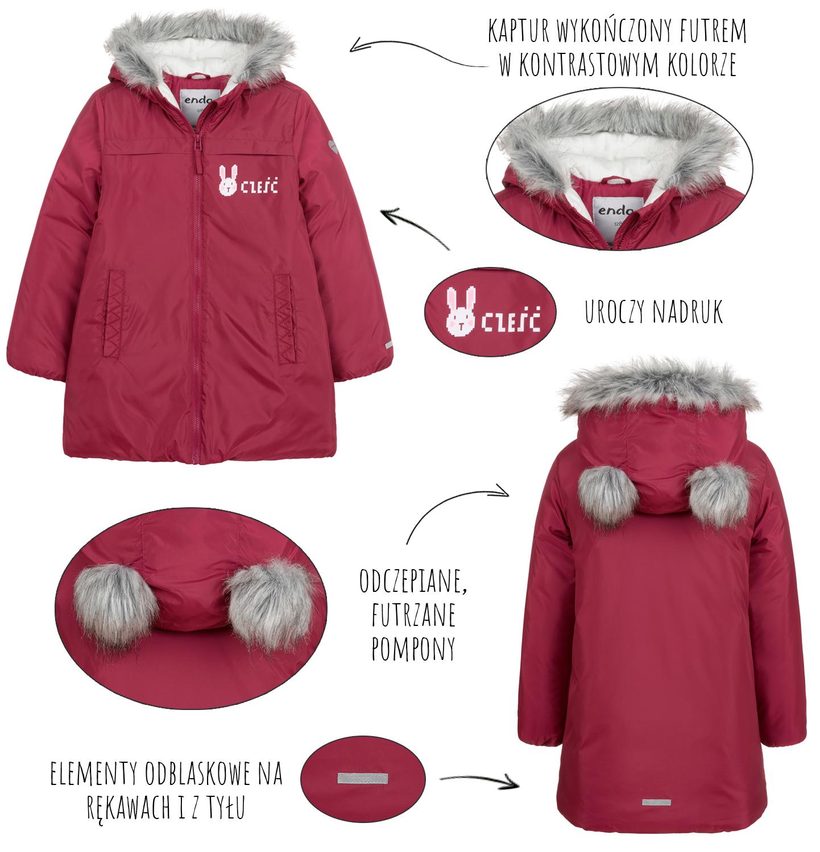 Infografika przedstawiająca cechy zimowej kurtki dziewczęcej Endo.