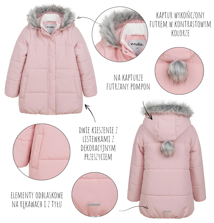 Infografika przedstawiająca funkcjonalność zimowej kurtki dziecięcej Endo.