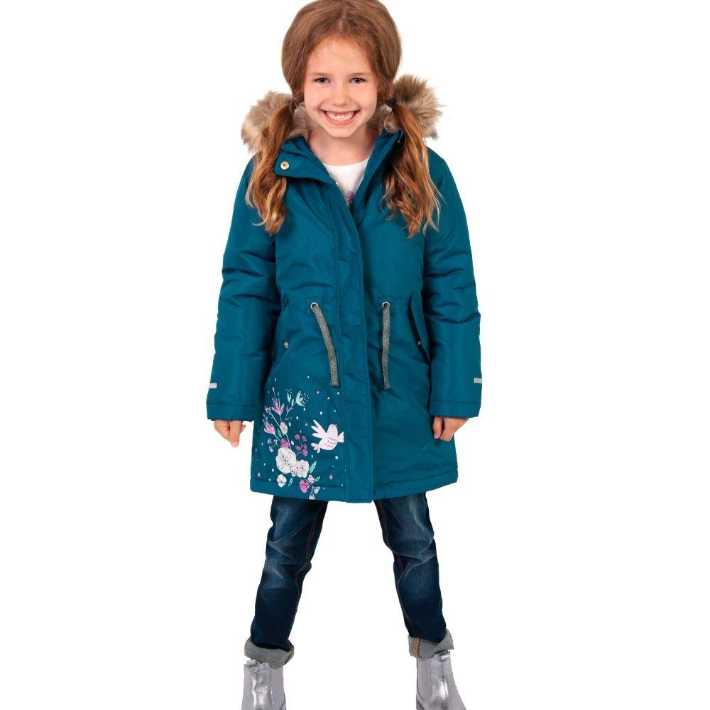 Dziewczynka w turkusowej w zimowej kurtce dziewczęcej Endo.