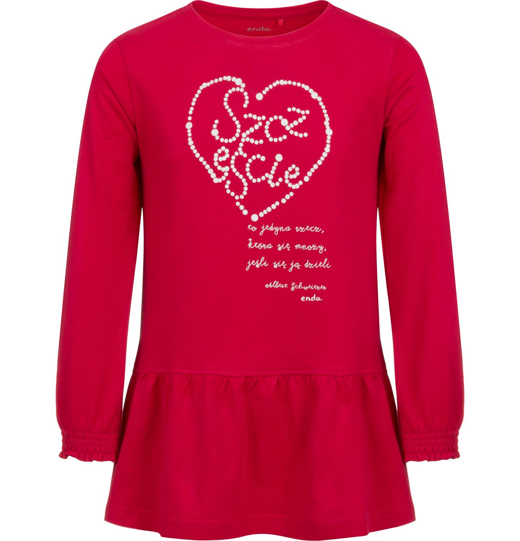 Fotografia czerwonej tuniki dla dziewczynki z napisem szczęście.